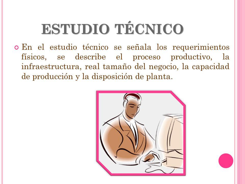 ESTUDIO TÉCNICO En el estudio técnico se señala los requerimientos físicos, se describe el proceso productivo, la infraestructura, real tamaño del neg