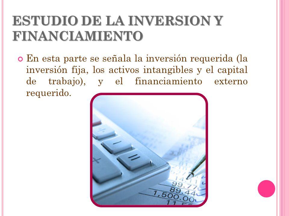 ESTUDIO DE LA INVERSION Y FINANCIAMIENTO En esta parte se señala la inversión requerida (la inversión fija, los activos intangibles y el capital de tr