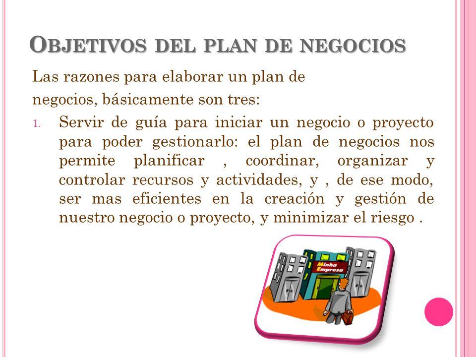 O BJETIVOS DEL PLAN DE NEGOCIOS Las razones para elaborar un plan de negocios, básicamente son tres: 1. Servir de guía para iniciar un negocio o proye