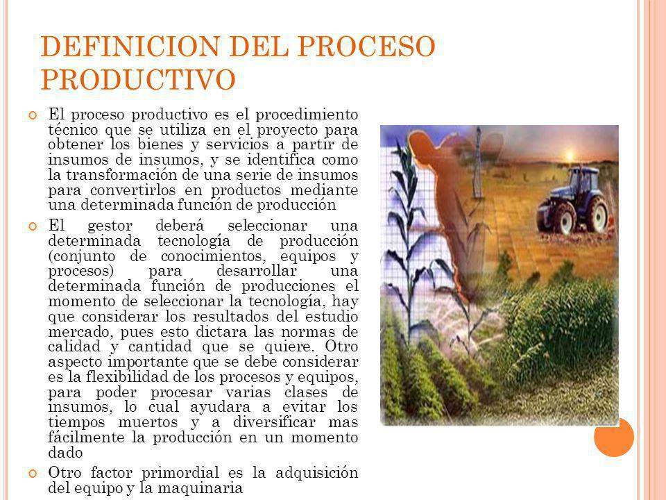 DEFINICION DEL PROCESO PRODUCTIVO El proceso productivo es el procedimiento técnico que se utiliza en el proyecto para obtener los bienes y servicios