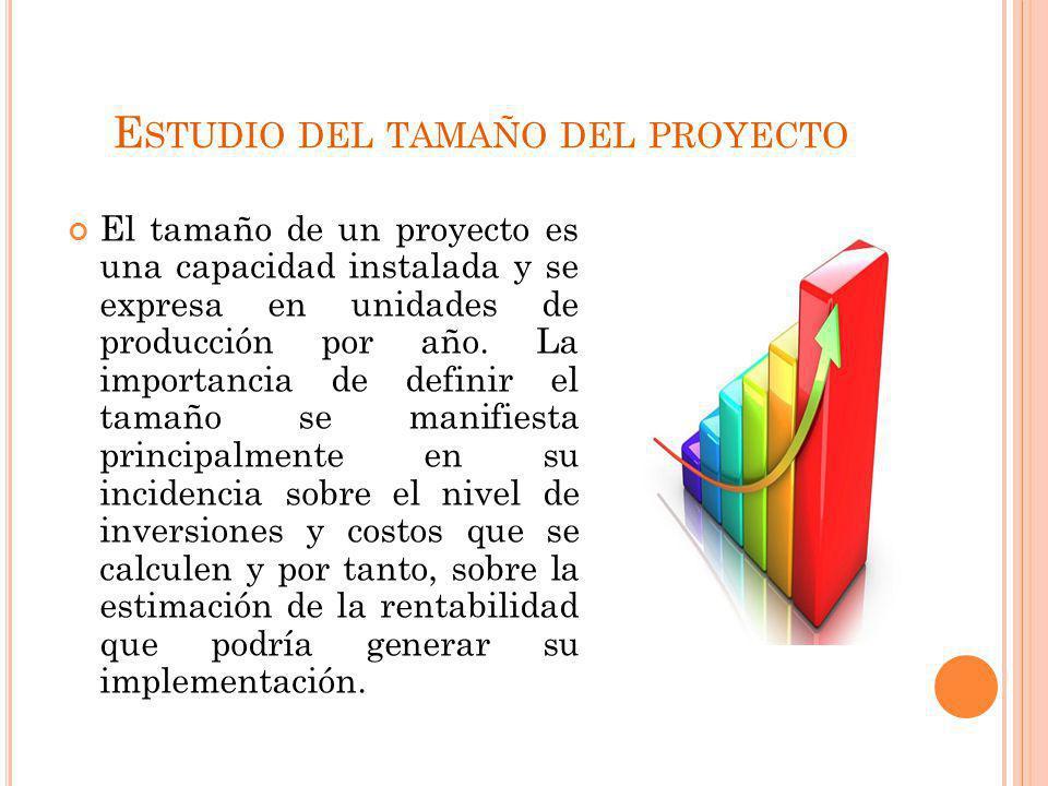 E STUDIO DEL TAMAÑO DEL PROYECTO El tamaño de un proyecto es una capacidad instalada y se expresa en unidades de producción por año. La importancia de