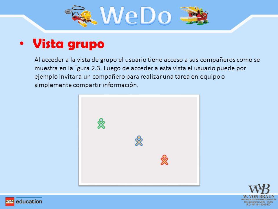 Vista grupo Al acceder a la vista de grupo el usuario tiene acceso a sus compañeros como se muestra en la ¯gura 2.3. Luego de acceder a esta vista el