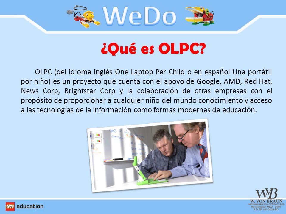 ¿Qué es OLPC? OLPC (del idioma inglés One Laptop Per Child o en español Una portátil por niño) es un proyecto que cuenta con el apoyo de Google, AMD,