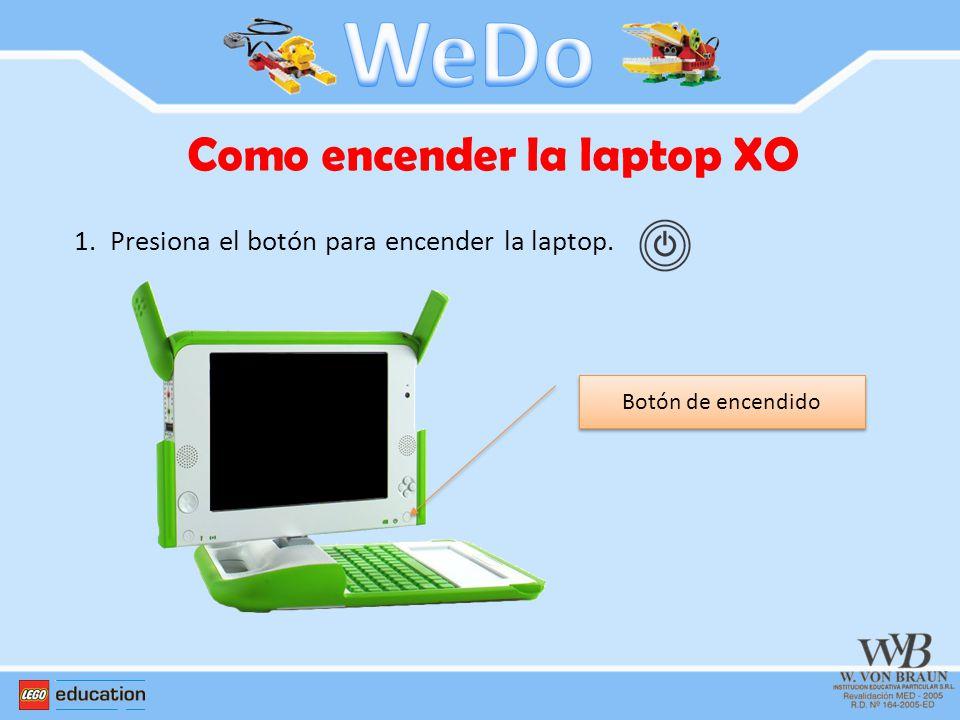 Como encender la laptop XO 1.Presiona el botón para encender la laptop. Botón de encendido