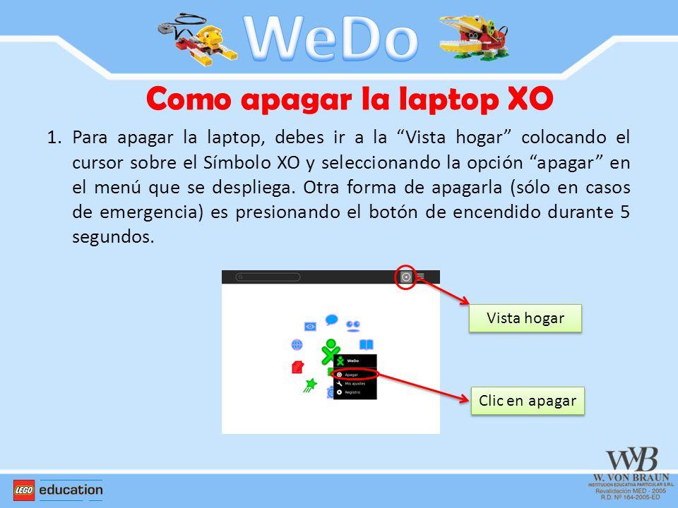 1.Para apagar la laptop, debes ir a la Vista hogar colocando el cursor sobre el Símbolo XO y seleccionando la opción apagar en el menú que se desplieg