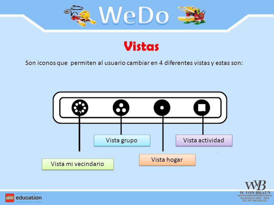Vistas Son iconos que permiten al usuario cambiar en 4 diferentes vistas y estas son: Vista mi vecindario Vista grupo Vista hogar Vista actividad