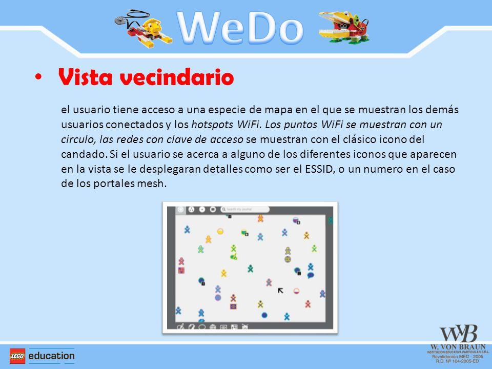 Vista vecindario el usuario tiene acceso a una especie de mapa en el que se muestran los demás usuarios conectados y los hotspots WiFi. Los puntos WiF