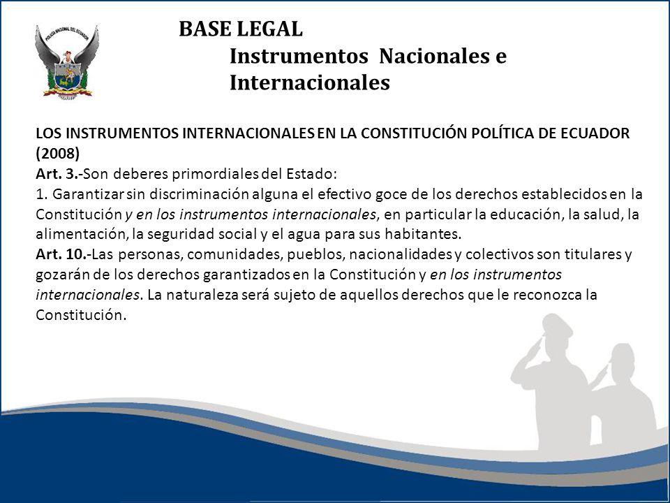 BASE LEGAL Instrumentos Nacionales e Internacionales LOS INSTRUMENTOS INTERNACIONALES EN LA CONSTITUCIÓN POLÍTICA DE ECUADOR (2008) Art. 3.-Son debere