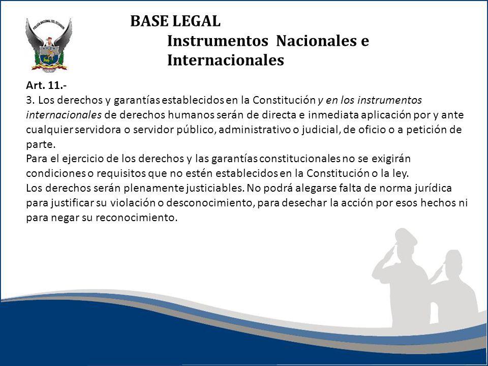 BASE LEGAL Instrumentos Nacionales e Internacionales Art. 11.- 3. Los derechos y garantías establecidos en la Constitución y en los instrumentos inter