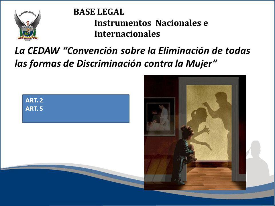 BASE LEGAL Instrumentos Nacionales e Internacionales La CEDAW Convención sobre la Eliminación de todas las formas de Discriminación contra la Mujer ART.