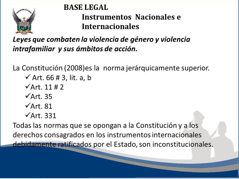 BASE LEGAL Instrumentos Nacionales e Internacionales Leyes que combaten la violencia de género y violencia intrafamiliar y sus ámbitos de acción. La C