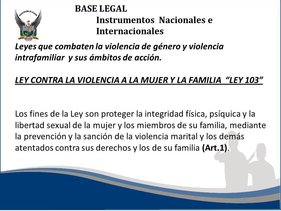 BASE LEGAL Instrumentos Nacionales e Internacionales Leyes que combaten la violencia de género y violencia intrafamiliar y sus ámbitos de acción. LEY