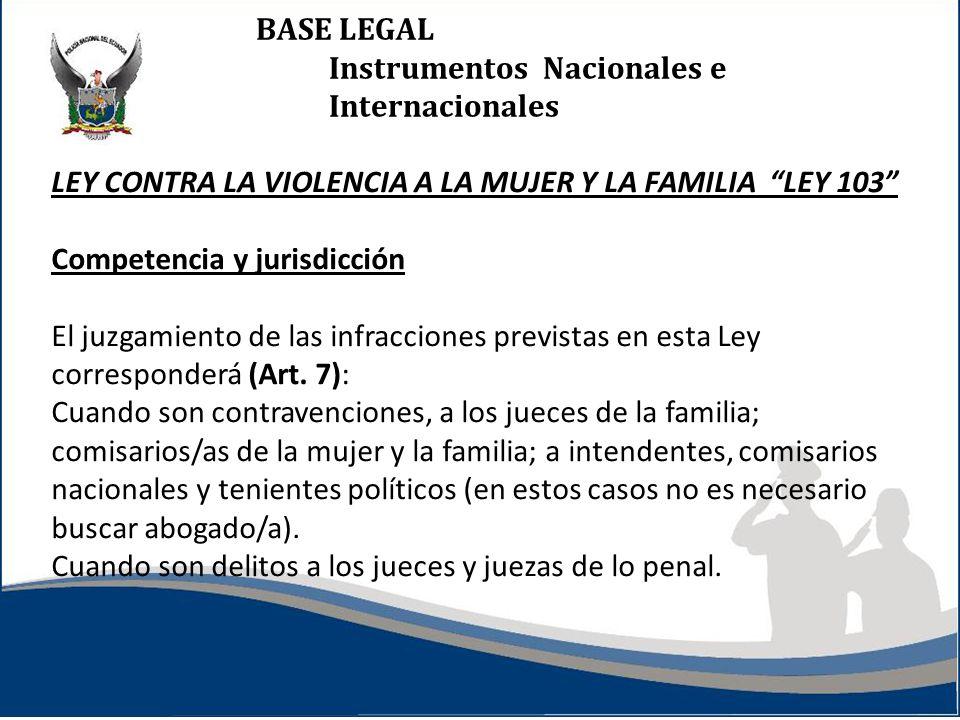 BASE LEGAL Instrumentos Nacionales e Internacionales LEY CONTRA LA VIOLENCIA A LA MUJER Y LA FAMILIA LEY 103 Competencia y jurisdicción El juzgamiento de las infracciones previstas en esta Ley corresponderá (Art.