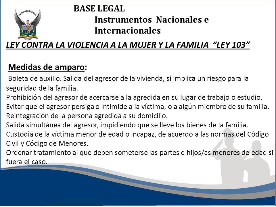 BASE LEGAL Instrumentos Nacionales e Internacionales LEY CONTRA LA VIOLENCIA A LA MUJER Y LA FAMILIA LEY 103 Medidas de amparo: Boleta de auxilio. Sal