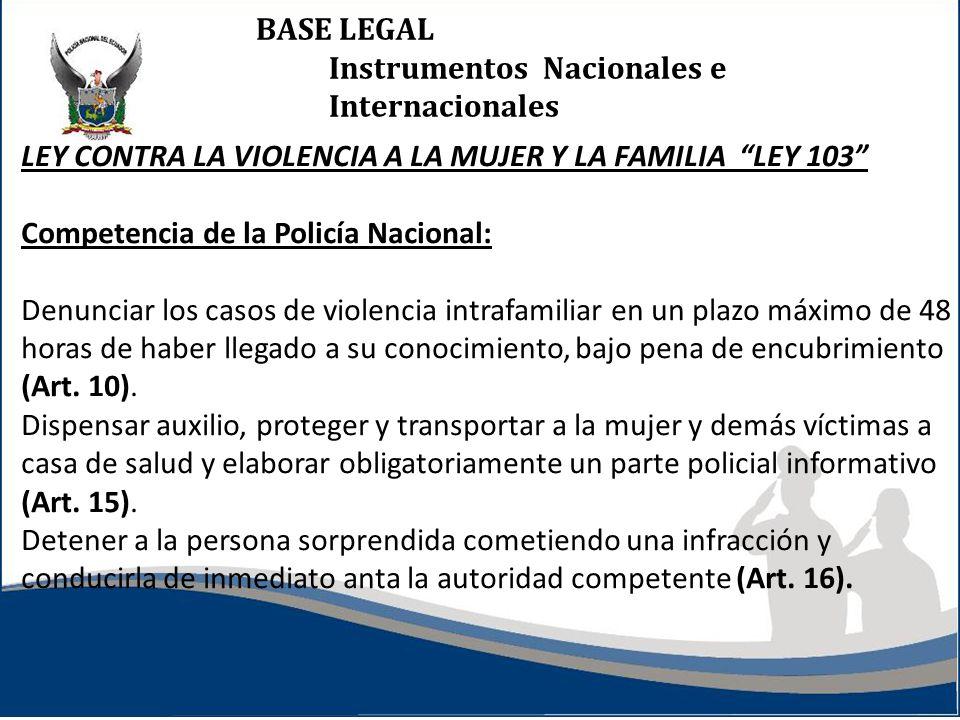 BASE LEGAL Instrumentos Nacionales e Internacionales LEY CONTRA LA VIOLENCIA A LA MUJER Y LA FAMILIA LEY 103 Competencia de la Policía Nacional: Denun