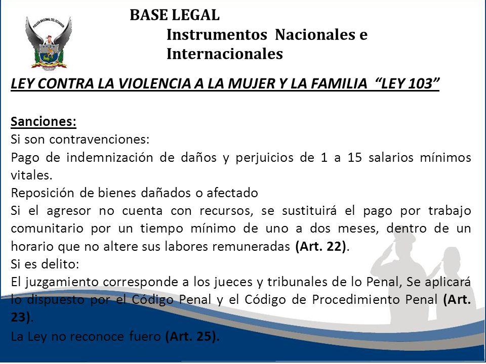 BASE LEGAL Instrumentos Nacionales e Internacionales LEY CONTRA LA VIOLENCIA A LA MUJER Y LA FAMILIA LEY 103 Sanciones: Si son contravenciones: Pago d