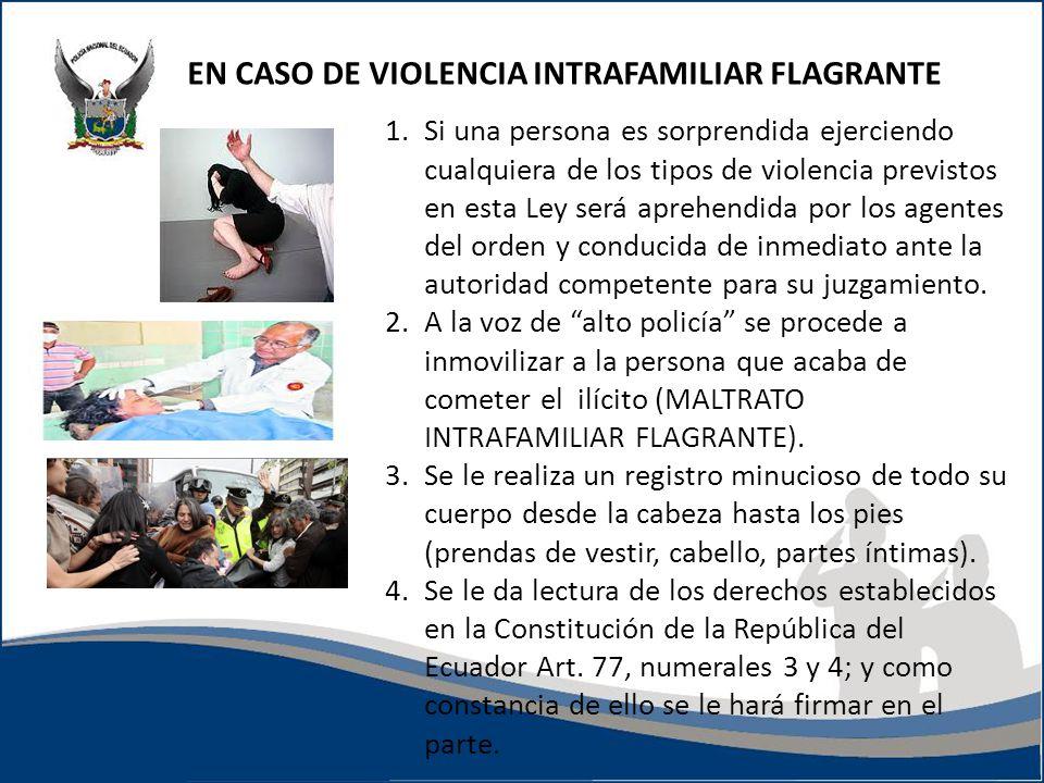 1.Si una persona es sorprendida ejerciendo cualquiera de los tipos de violencia previstos en esta Ley será aprehendida por los agentes del orden y con