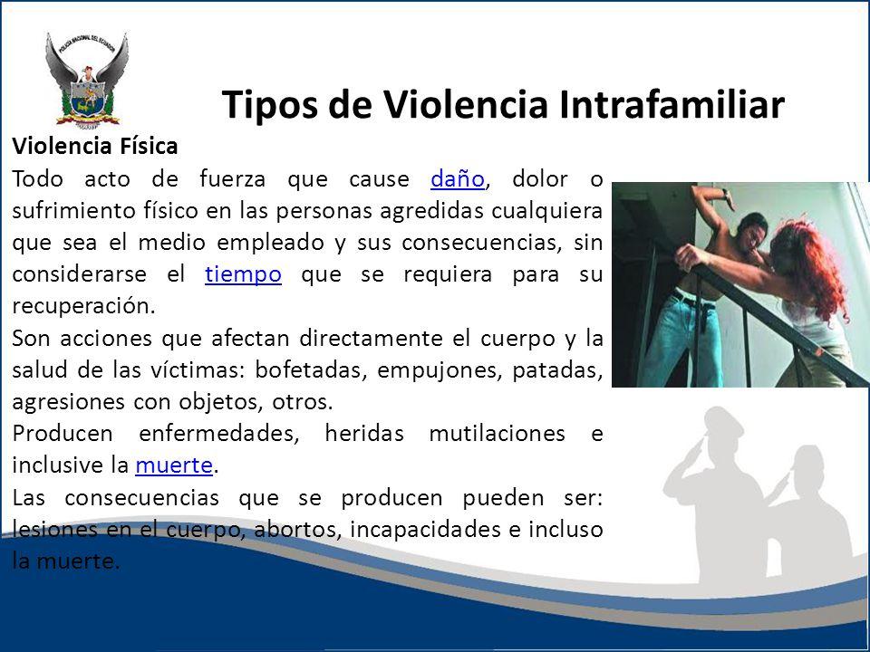 Tipos de Violencia Intrafamiliar Violencia Física Todo acto de fuerza que cause daño, dolor o sufrimiento físico en las personas agredidas cualquiera