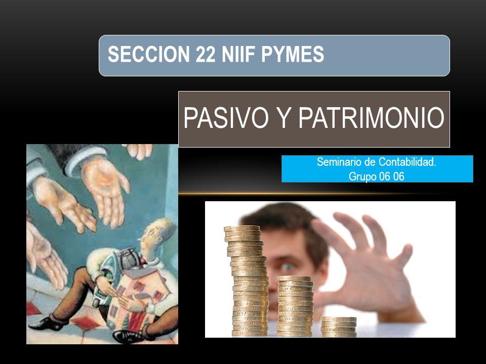 PASIVO Y PATRIMONIO SECCION 22 NIIF PYMES Seminario de Contabilidad. Grupo 06 06