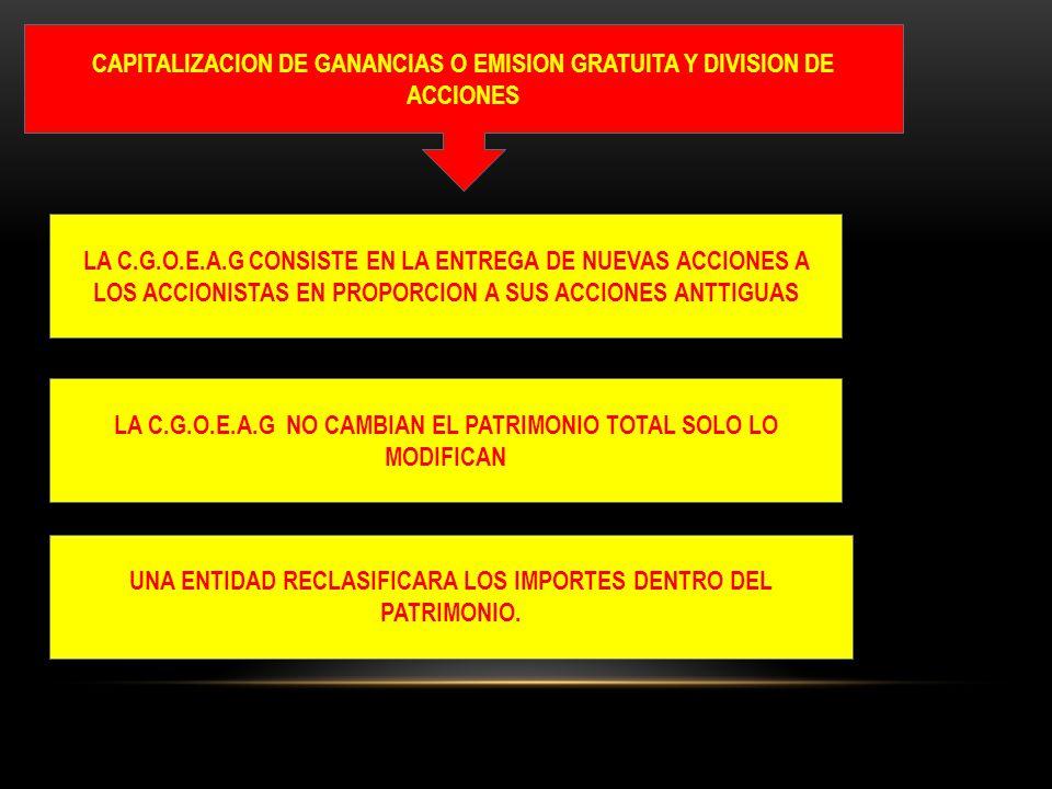 CAPITALIZACION DE GANANCIAS O EMISION GRATUITA Y DIVISION DE ACCIONES LA C.G.O.E.A.G CONSISTE EN LA ENTREGA DE NUEVAS ACCIONES A LOS ACCIONISTAS EN PR