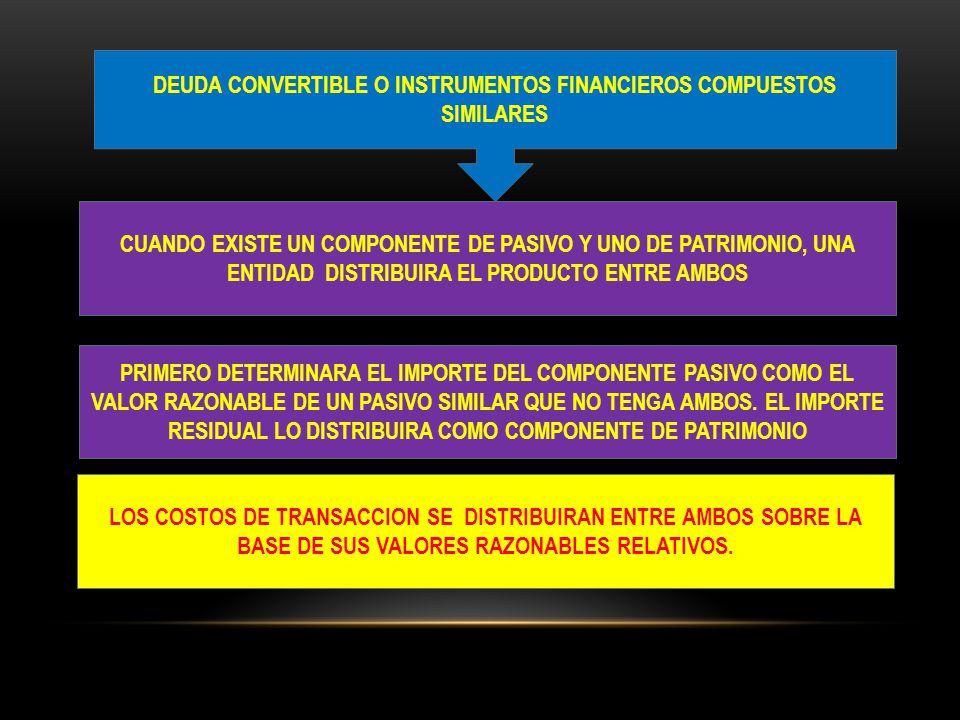 DEUDA CONVERTIBLE O INSTRUMENTOS FINANCIEROS COMPUESTOS SIMILARES CUANDO EXISTE UN COMPONENTE DE PASIVO Y UNO DE PATRIMONIO, UNA ENTIDAD DISTRIBUIRA E