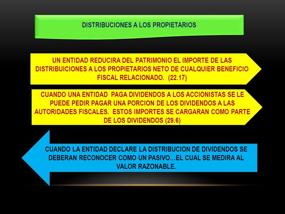DISTRIBUCIONES A LOS PROPIETARIOS UN ENTIDAD REDUCIRA DEL PATRIMONIO EL IMPORTE DE LAS DISTRIBUICIONES A LOS PROPIETARIOS NETO DE CUALQUIER BENEFICIO