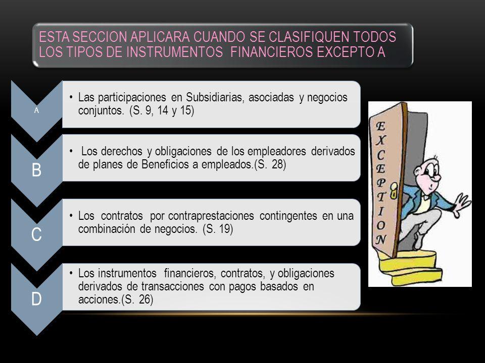 ESTA SECCION APLICARA CUANDO SE CLASIFIQUEN TODOS LOS TIPOS DE INSTRUMENTOS FINANCIEROS EXCEPTO A A Las participaciones en Subsidiarias, asociadas y n