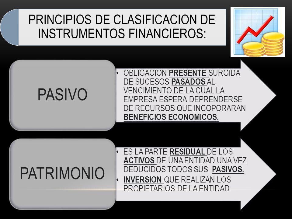 PRINCIPIOS DE CLASIFICACION DE INSTRUMENTOS FINANCIEROS: OBLIGACION PRESENTE SURGIDA DE SUCESOS PASADOS AL VENCIMIENTO DE LA CUAL LA EMPRESA ESPERA DE