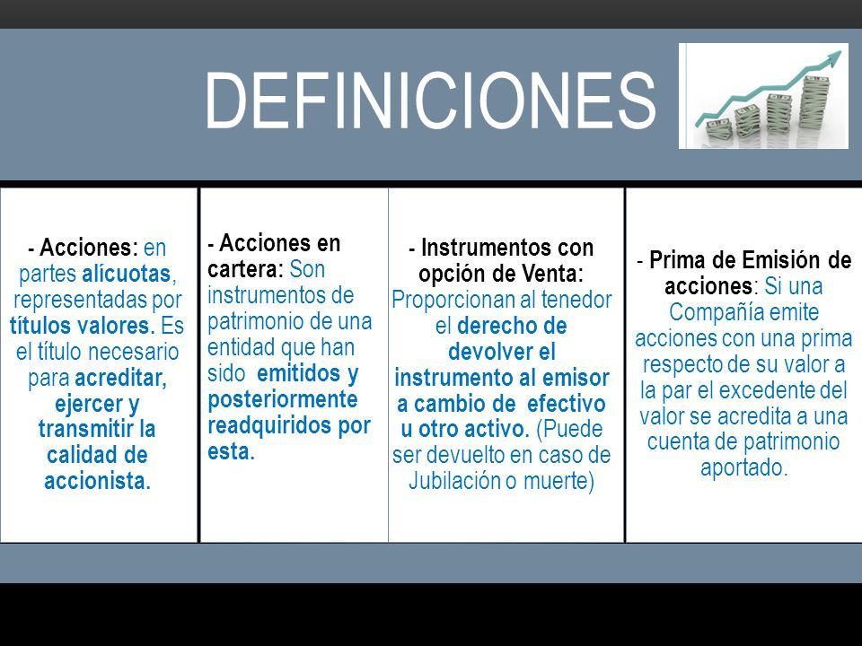 DEFINICIONES - Acciones: en partes alícuotas, representadas por títulos valores. Es el título necesario para acreditar, ejercer y transmitir la calida