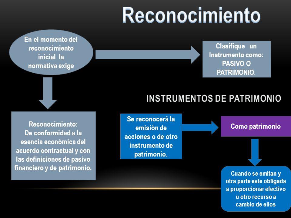 En el momento del reconocimiento inicial la normativa exige Clasifique un Instrumento como: PASIVO O PATRIMONIO. Reconocimiento: De conformidad a la e