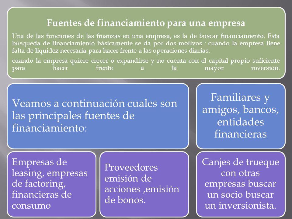 Fuentes de financiamiento para una empresa Una de las funciones de las finanzas en una empresa, es la de buscar financiamiento. Esta búsqueda de finan