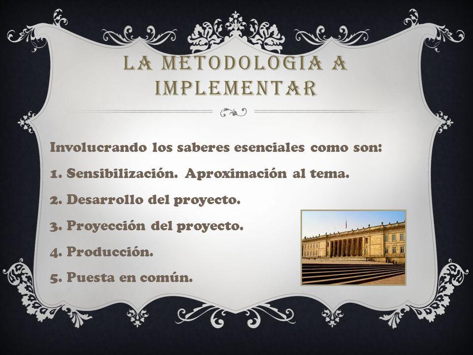 LA METODOLOGIA A IMPLEMENTAR Involucrando los saberes esenciales como son: 1.
