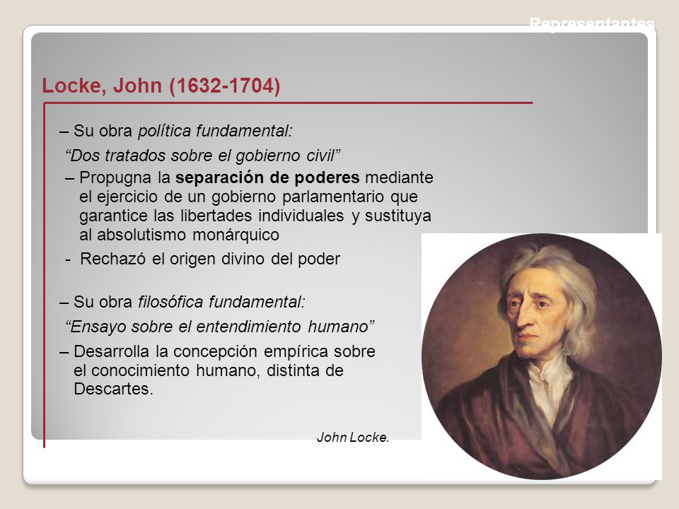 Representantes Locke, John (1632-1704) John Locke.
