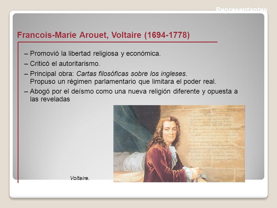 Representantes Francois-Marie Arouet, Voltaire (1694-1778) Voltaire.