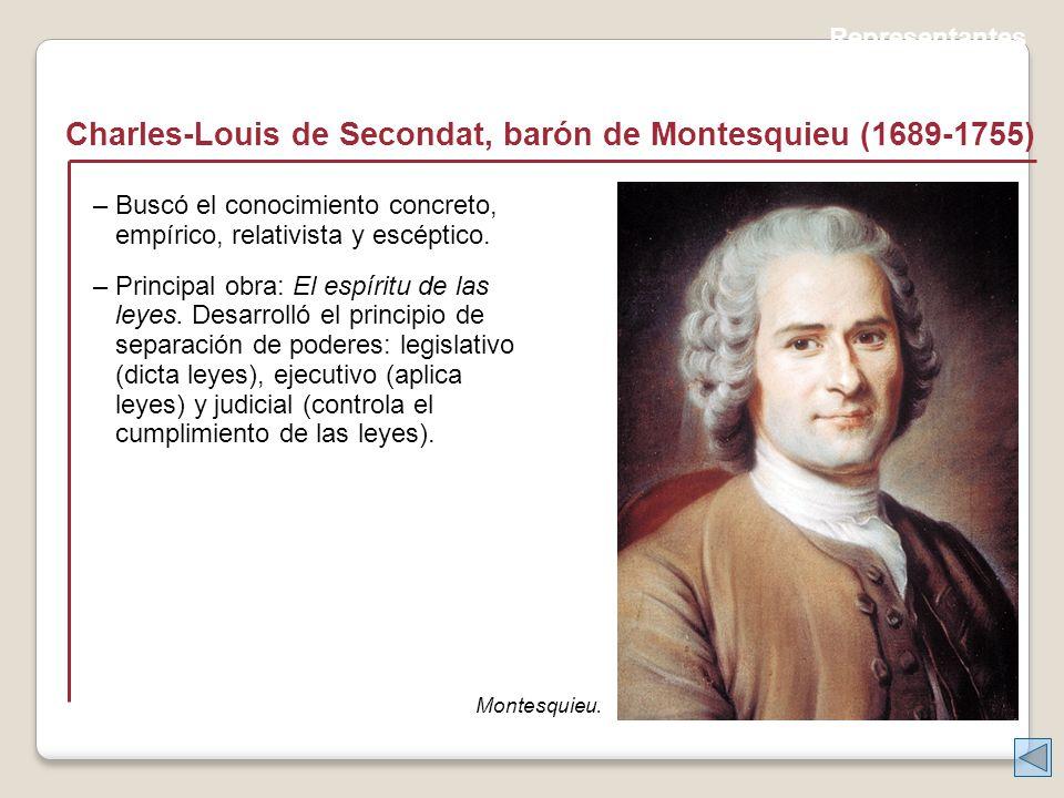 Representantes Charles-Louis de Secondat, barón de Montesquieu (1689-1755) Montesquieu.