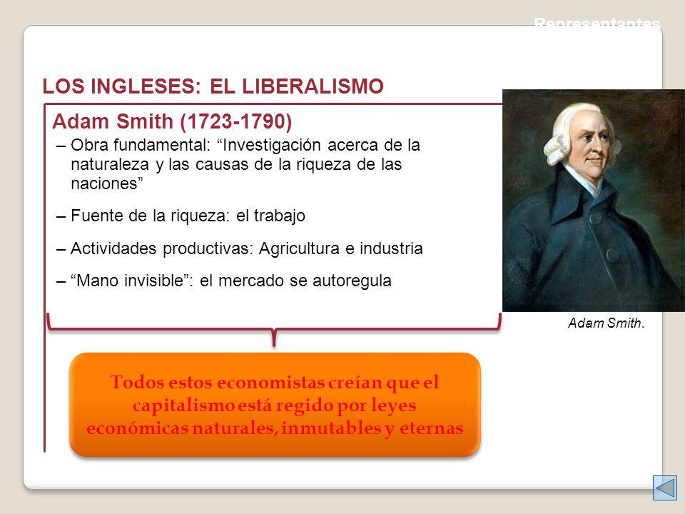 Representantes LOS INGLESES: EL LIBERALISMO Adam Smith.