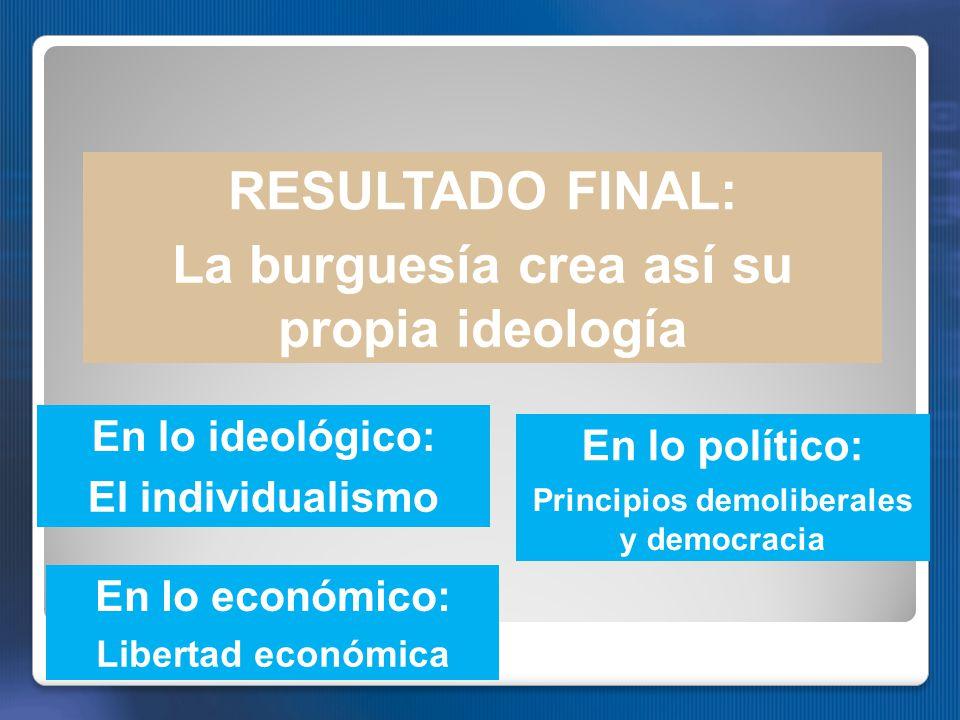 RESULTADO FINAL: La burguesía crea así su propia ideología En lo ideológico: El individualismo En lo político: Principios demoliberales y democracia En lo económico: Libertad económica