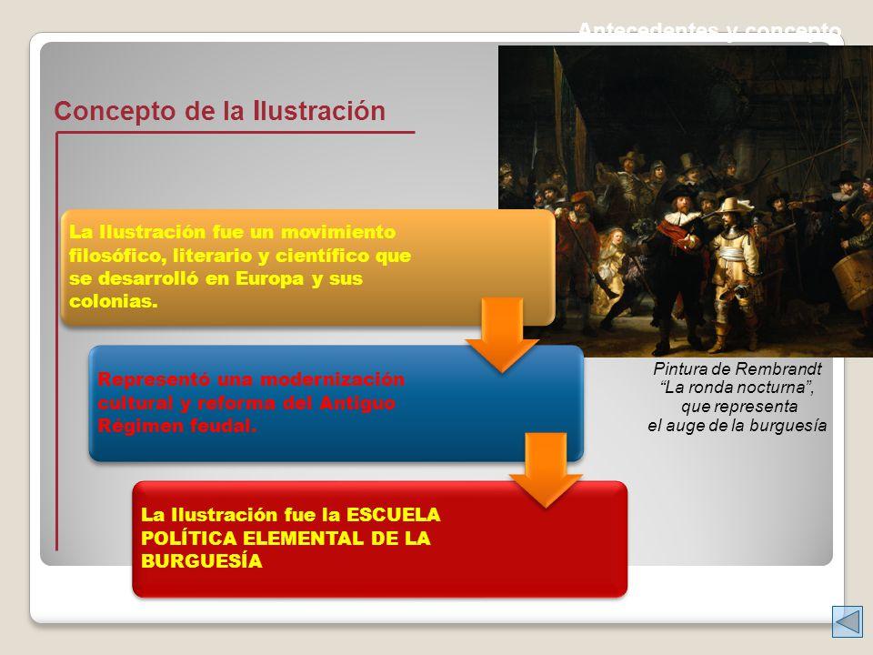 Antecedentes y concepto Concepto de la I lustración La Ilustración fue un movimiento filosófico, literario y científico que se desarrolló en Europa y sus colonias.