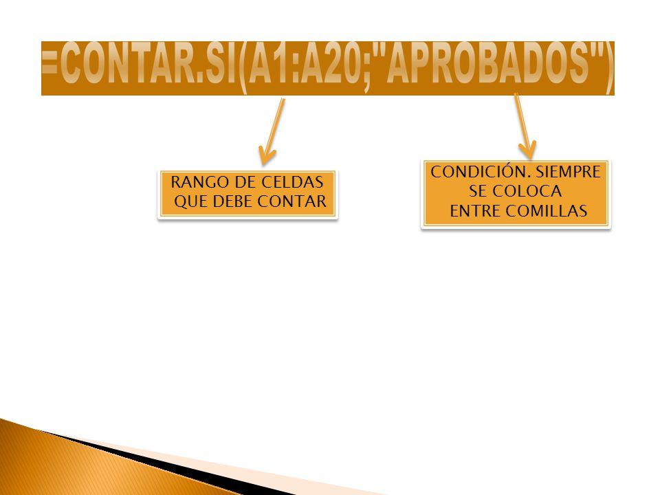 RANGO DE CELDAS QUE DEBE CONTAR RANGO DE CELDAS QUE DEBE CONTAR CONDICIÓN. SIEMPRE SE COLOCA ENTRE COMILLAS CONDICIÓN. SIEMPRE SE COLOCA ENTRE COMILLA