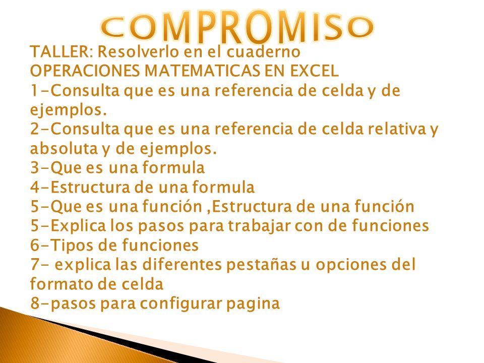 TALLER: Resolverlo en el cuaderno OPERACIONES MATEMATICAS EN EXCEL 1-Consulta que es una referencia de celda y de ejemplos. 2-Consulta que es una refe