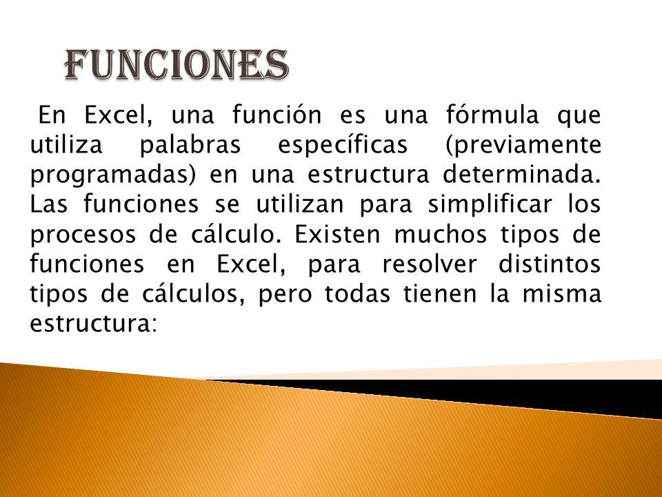 En Excel, una función es una fórmula que utiliza palabras específicas (previamente programadas) en una estructura determinada. Las funciones se utiliz