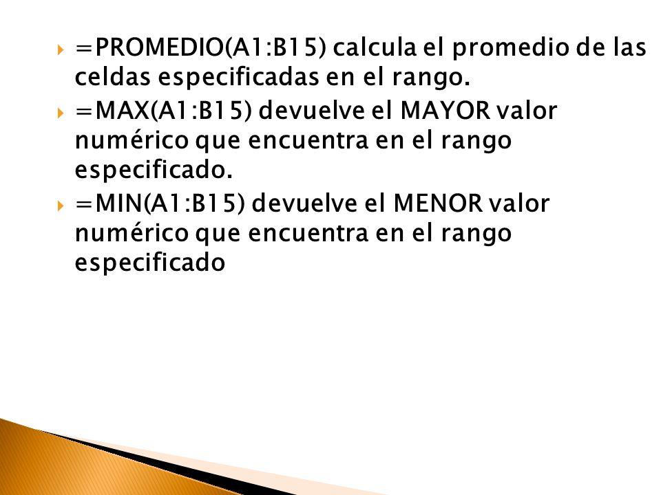 =PROMEDIO(A1:B15) calcula el promedio de las celdas especificadas en el rango. =MAX(A1:B15) devuelve el MAYOR valor numérico que encuentra en el rango