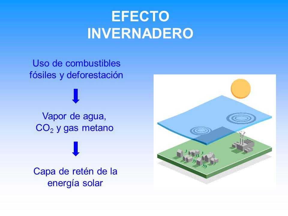 EFECTO INVERNADERO Vapor de agua, CO 2 y gas metano Capa de retén de la energía solar Uso de combustibles fósiles y deforestación
