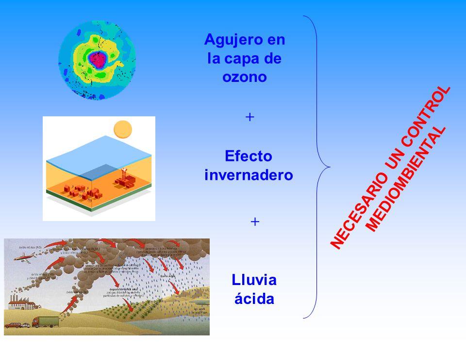 Agujero en la capa de ozono Efecto invernadero Lluvia ácida + + NECESARIO UN CONTROL MEDIOMBIENTAL