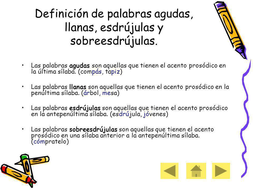 Definición de palabras agudas, llanas, esdrújulas y sobreesdrújulas.