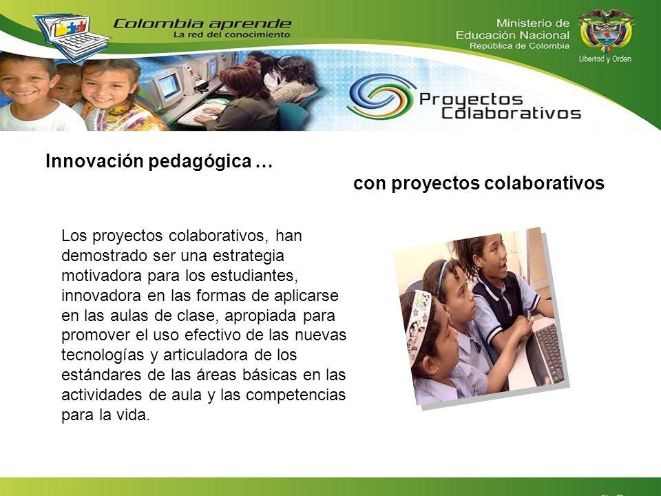 Innovación pedagógica … con proyectos colaborativos Los proyectos colaborativos, han demostrado ser una estrategia motivadora para los estudiantes, in