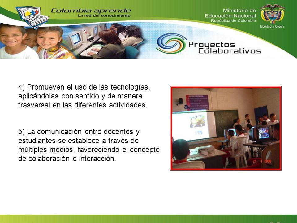 4) Promueven el uso de las tecnologías, aplicándolas con sentido y de manera trasversal en las diferentes actividades. 5) La comunicación entre docent
