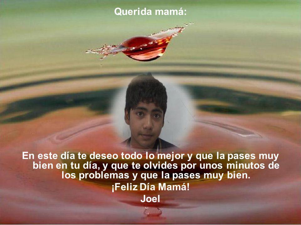 Querida mamá: En este día te deseo todo lo mejor y que la pases muy bien en tu día, y que te olvides por unos minutos de los problemas y que la pases