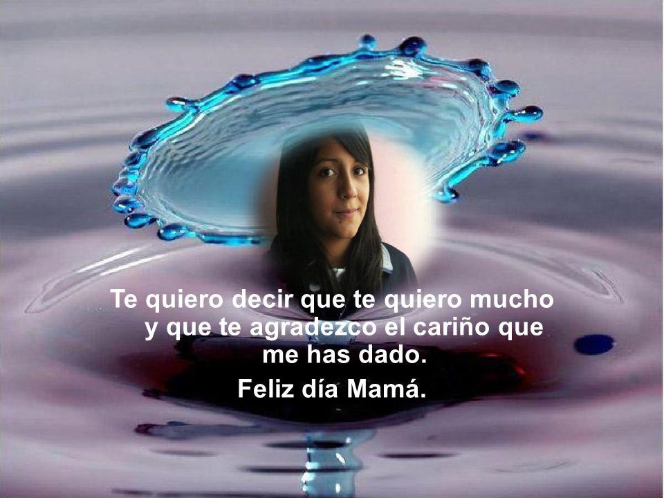 Te quiero decir que te quiero mucho y que te agradezco el cariño que me has dado. Feliz día Mamá.
