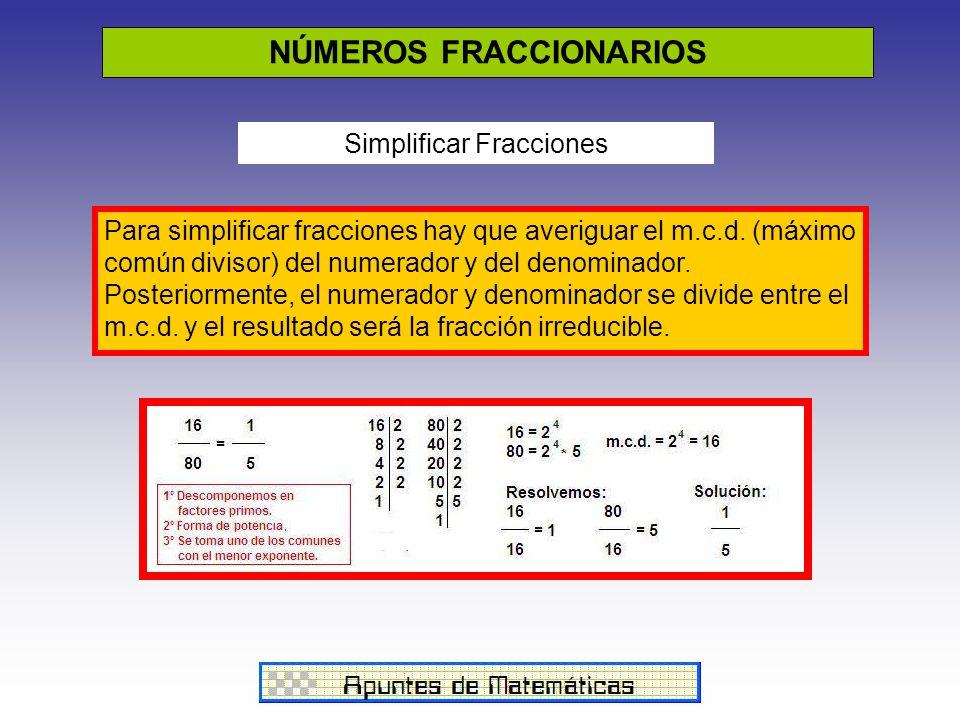 NÚMEROS FRACCIONARIOS Simplificar Fracciones Para simplificar fracciones hay que averiguar el m.c.d. (máximo común divisor) del numerador y del denomi